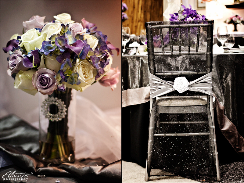 Purple Wedding Bouquet Silver Wedding Table Setting